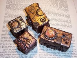 Steampunk Polymer Clay Blocks by ValerianaSolaris