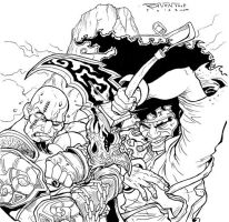 God Of War vs. Afro Samurai by ravensdojo