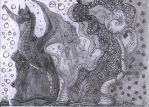 pencil drawing Surreal World - Birthday present by Calitha-Lena