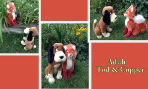 Adult Tod and Copper plush by Laurel-Lion
