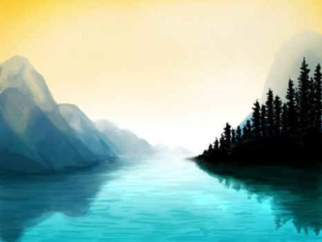 Speed Paint - Maligne Lake, Alberta Canada by Saokymo