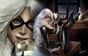 BlackCat_and_Milk by CrisDelaraArt