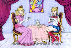 Princess Peach and Sailor Moon tea party by mdavidct