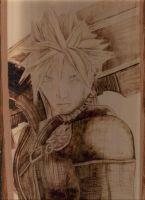 Cloud Strife Pyrography by wickedtiger86