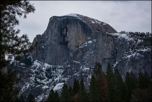 Half Dome in Winter by tawmn