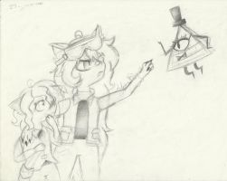 Two cats and Bill Cipher (SKETCH) by Guajorite