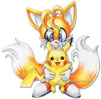 Tails and Pikachu by Alin-the-Dog