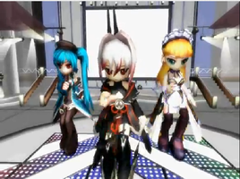 MMD IntoYourHeart-Mary Jane,Lucretia,and Lezlie X3 by Kritobias