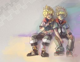 Kingdom Hearts - Ventus and Roxas by papelmarfil