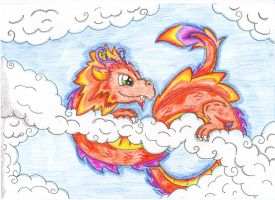 In the clouds by JamKitsune