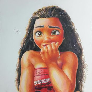 disney moana fan art colored pencil drawing by KR-Dipark