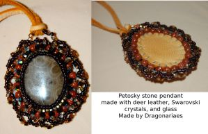 Petoskey and goldstone leather pendant by dragonariaes