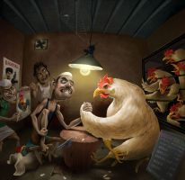 Man V/s Chicken by artistneetu