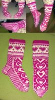 Pink Valentines-Day fair-isle socks by KnitLizzy