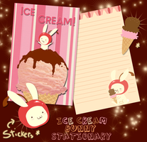 Ice Cream Bunny Stationary by Applefritter