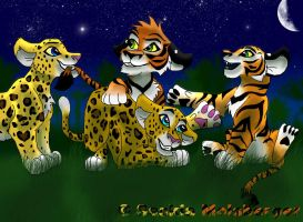 Tiger and leopard cubs by Sasa-m-93