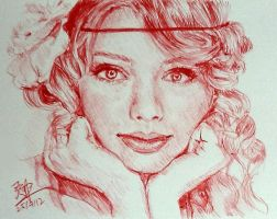 Quick pen sketch of Taylor Swift by chaseroflight