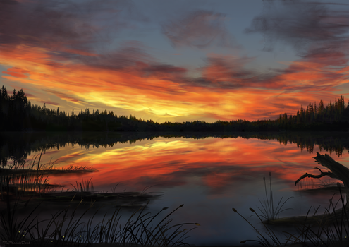 Lake Sunset by JKRoots