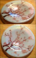 Glass Fusing: Cherry Blossom Plate by Mysticalpchan