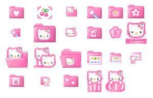 Pink HelloKitty icons by dodozhang21