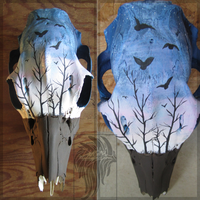 Sunrise and Crows:Painted Deer Skull by Zenhi