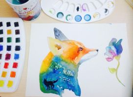 Colorful fox. by NausicaaGhibli