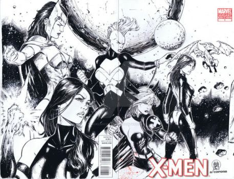 women of xmen sketchcover A by adelsocorona