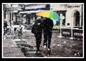 Worthing Snow Umbrella Couple by CyberPhantom