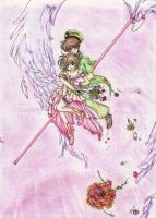 Sakura and Syaoran Flying by farwen07