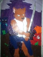 Wolf Warrior (gloss paper work) by Dinoroid