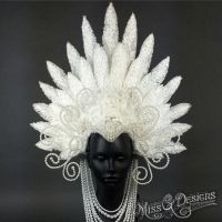 White Pearl Faux Feather Headdress by MissGdesigns