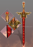 (CUSTOM) - Red Gold Lion Sword for Cerd by Timothy-Henri