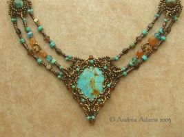 Turquoise beadwoven necklace by Beadmask