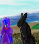 Raven and Shado- at the beach by Varjokani