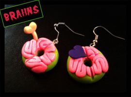 Zombie Doughnut Earrings by Christine-E