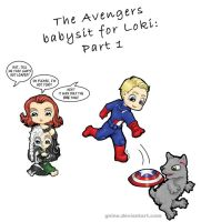 Avengers Babysit for Loki by Gnine