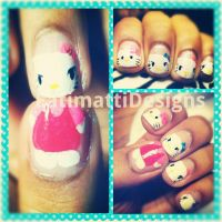 Hello Kitty Nails! by FatimattiDesigns
