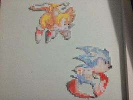 Classic Sonic and Classic Tails Pixel Art by TheJackedex