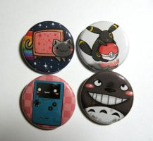 Nyan cat and random button pack by michellescribbles