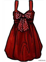Red bow dress in Oil paint by Maellanie