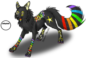 Starry Rainbow Wolf - Gift by ZombiCookie