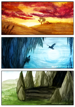 Watercolor Concept Backgrounds by Mikaley