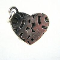 Heart with Gears: Steampunk Silver Charm by Joshuadsanchez