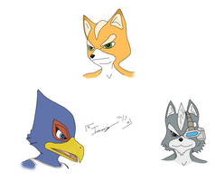 Flat Colored Star Fox Guys by imago3d
