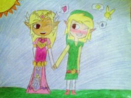 Link and Zelda in HyruleField by MissStar091995