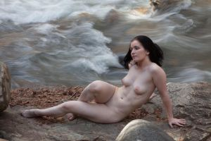 Mountain Stream, Nude Woman by rylstone