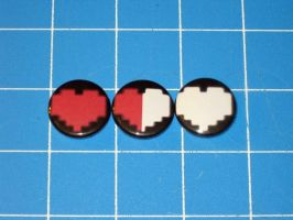 Classic Zelda Heart Badges by PaperCadence
