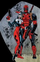 Harley Quinn and Deadpool colored by NinjaSpidey