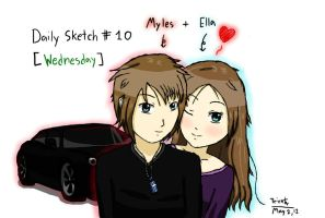 Daily Sketch #10 - Myles+Ella for Wednesday by F1rst-Pers0n