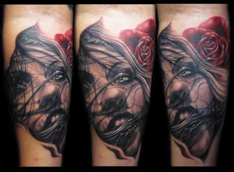Realistic face rose tattoo by hatefulss
